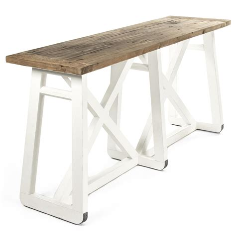 rustic white console table mirabel coastal rustic white reclaimed wood x base