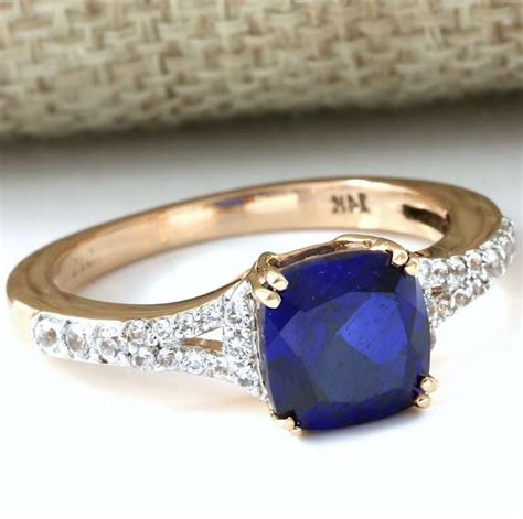 Blue Sapphire 0 7 Ct 14kt gold 1 25 ct blue sapphire 0 25 ct white sapphire ring size 7 catawiki