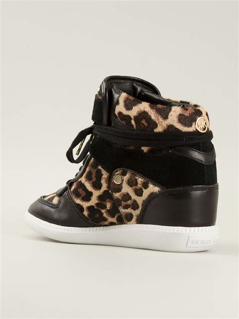 michael kors wedge sneakers black lyst michael michael kors leopard print concealed wedge