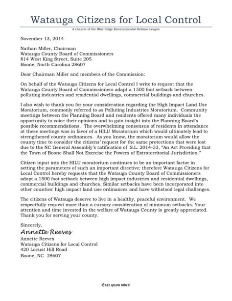 Complaint Letter On Noise Pollution Bredl Citizens Call For Expanded Protection From Pollution With Regard To Abolishment Of Boone