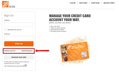 home depot credit card services home depot self service