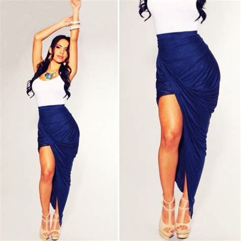 Asymmetrical Draped Skirt Best Tight Fitted Skirts Photos 2017 Blue Maize