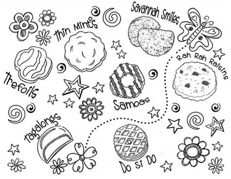 Coloring Page Girl Scout Cookies | gs cookie coloring sheet girl scouts general pinterest