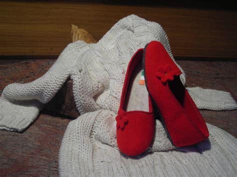 ballerine da casa ballerine da casa rosse in cotta e suola in feltro