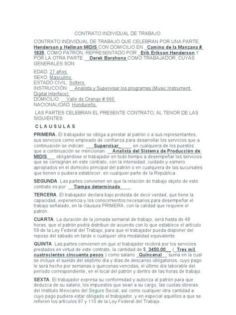 Carta De Trabajo Individual by Contrato Individual De Trabajo