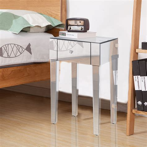 mirrored bedside table with one drawer glass mirrored chrome bedside table side cabinet 1 drawer
