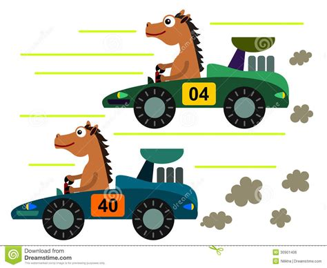 cartoon race horse on a race stock illustration image of compete