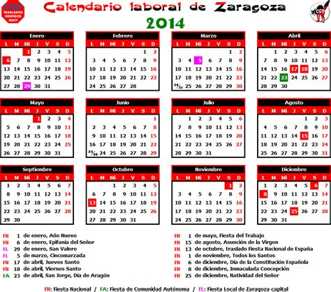 Calendario Escolar Aragon 2013 Y 2014 Gatos Sindicales Zaragoza Calendario Laboral 2014 Zaragoza