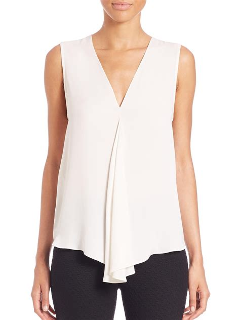 V Neck Basic Blouse White Neumor theory basic silk blouse mexican blouse