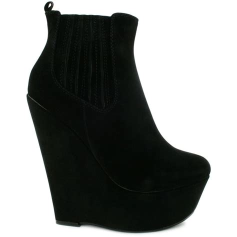 buy adora wedge heel platform chelsea ankle boots black