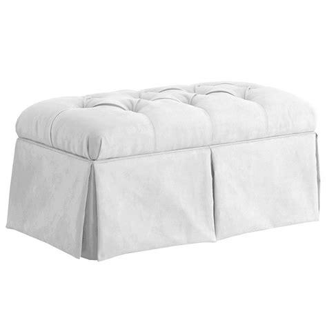 skirted storage bench dreamfurniture com skirted storage bench in velvet white