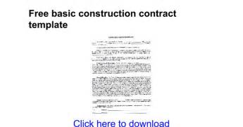 standard construction contract template free basic construction contract template docs