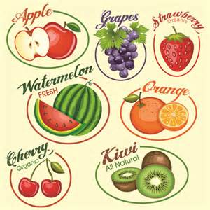 fruits slice labels vector vector food vector label