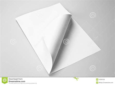 Folded Sheet Of Paper - blank folded sheet of paper with curled corner stock