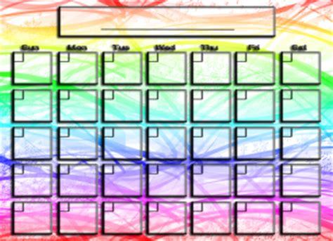 Rainbow Calendar Template rainbow colors blank calendar
