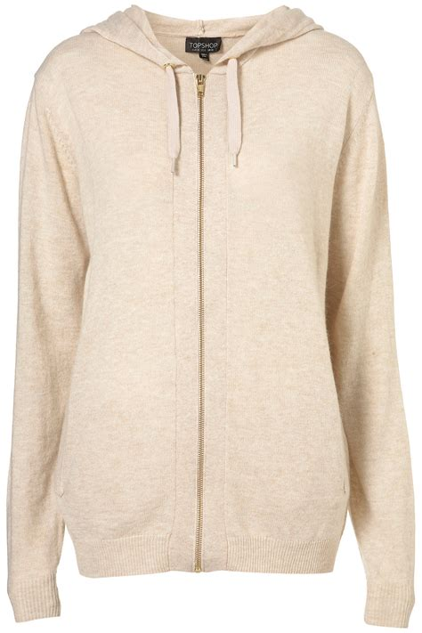 knit hoodie topshop knitted zip up hoody in beige lyst
