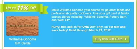 Williams Sonoma Gift Card At Pottery Barn   Gift Ftempo