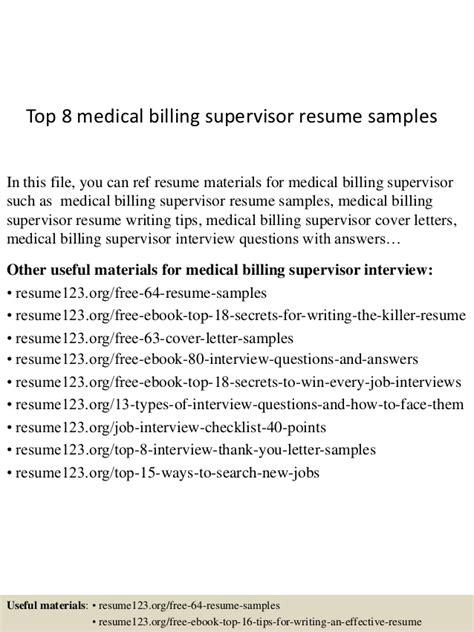top 8 medical billing supervisor resume sles
