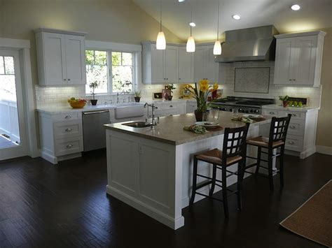 kitchen floor ideas with dark cabinets white kitchen cabinets dark wood floors transitional