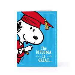 cool graduation greeting card design idea with snoopy wearing cap drawing and blue