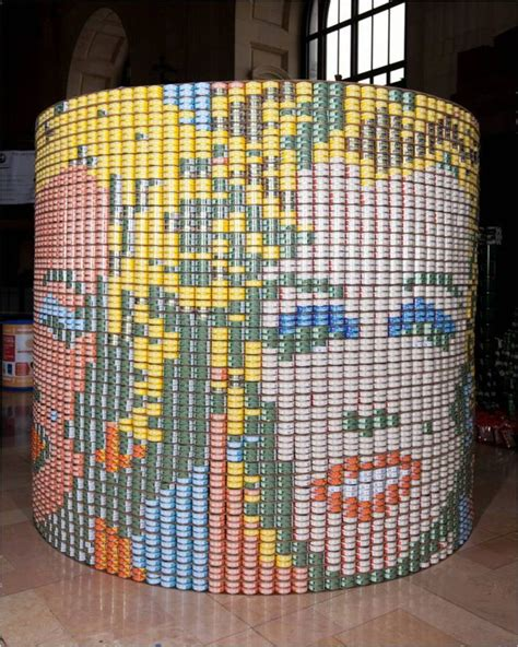 can sculpture canned food sculptures raise hunger awareness