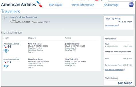 york jfk  barcelona  aa nonstop jan  loyalty traveler