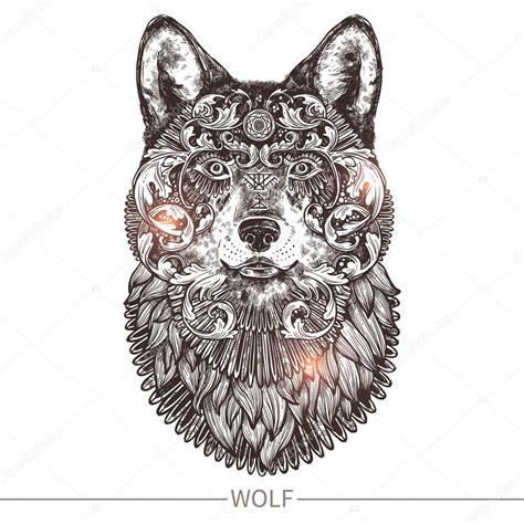 testa di lupo testa di lupo tatuaggio ornamentale vettoriali stock