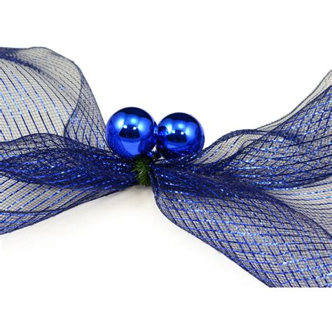 6 quot green tinsel ties w 50mm balls blue set of 12