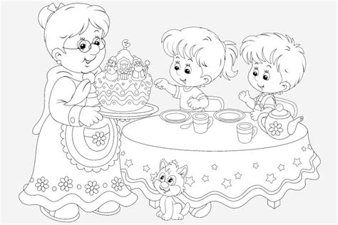 tea party coloring pages sketch coloring page