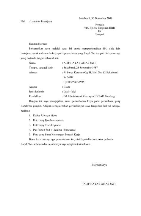 contoh surat lamaran kerja quality bahasa inggris wisata dan