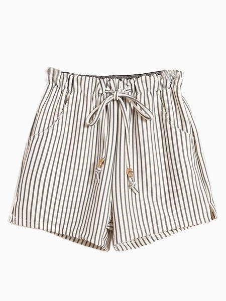 Striped Shorts vertical striped shorts with tie waist classic and cool