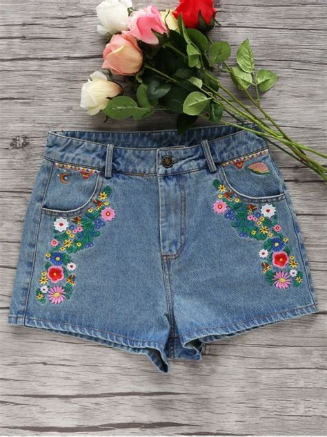 Embroidery Denim Shorts denim floral embroidery shorts light blue shorts s zaful