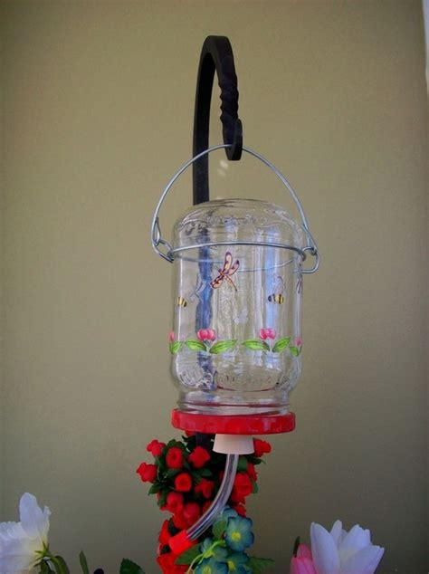 recycled glass hummingbird feeder bird stuff pinterest