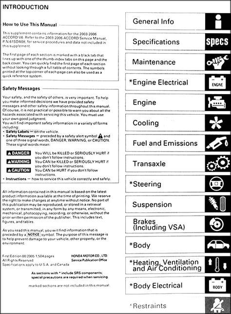 2003 2006 honda accord v6 repair shop manual supplement