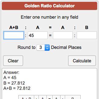 golden section calculator golden ratio calculator face download free