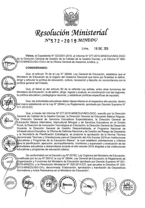 normas para inicio del ao escolar 2016 normas de inicio del a 241 o escolar 2016 rm n 176 572 2015 minedu