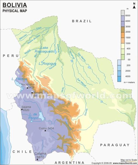bolivia physical map physical map  bolivia
