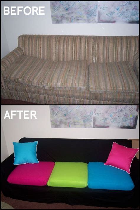 homemade couch cushions diy couch makeover use sheet to cover couch and sew slip