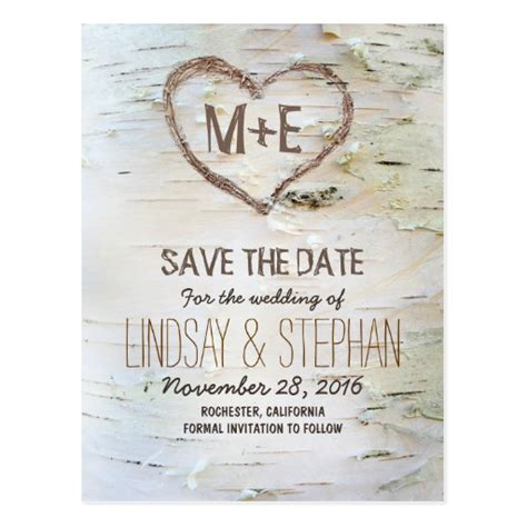 Free Printable Save The Date Business Card Templates by Birch Bark Rustic Save The Date Postcards Zazzle