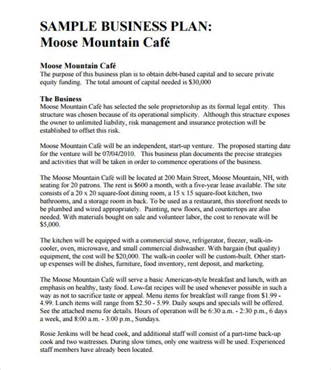 template of business plan 8 free business plan templates free documents