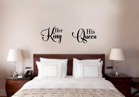 king and queen home decor her king his queen love vinyl decal wall decor sticker