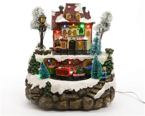 moveable christmas train ornaments lumineo led light up station ornament moving white led ebay