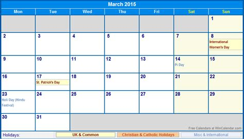 printable planner 2015 uk march 2015 uk calendar with holidays for printing image