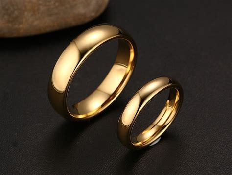Top Quality Tungsten Steel Simple Gold Ring Women Men