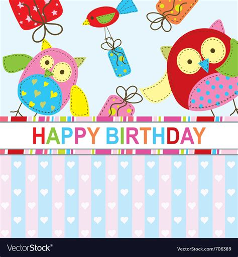 birthday card template free vector template birthday greeting card royalty free vector image