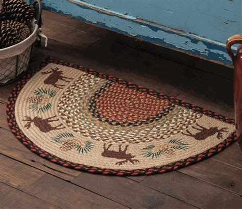 Half Circle Kitchen Rugs Moose Pinecone Half Braided Rug
