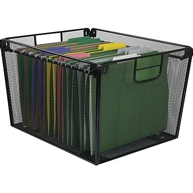 Table Top File Box by Staples 21579 Mesh Metal Tabletop File Holder Black