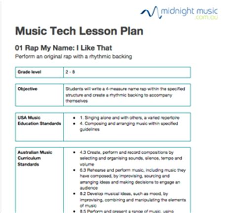 printable music lesson plans world music rap my name free music tech lesson plan midnight music