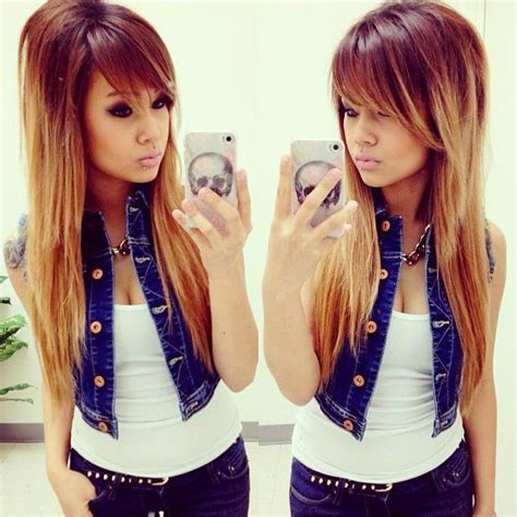 pictures of womens hair styles with long bottom and short top ombre fryzura z grzywką fryzury galeria