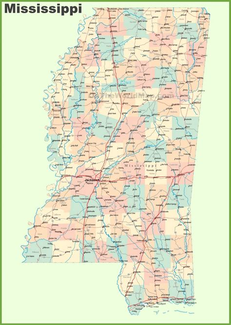 road map of southern states road map of mississippi with cities